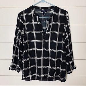 GAP Black + White Grid Blouse